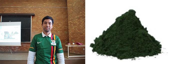 ザンビアグリーンのユニフォーム姿とスピルリナのグリーン