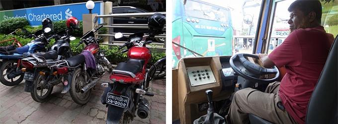 左写真:駐輪されている二輪車、右写真:バスの運転手さん
