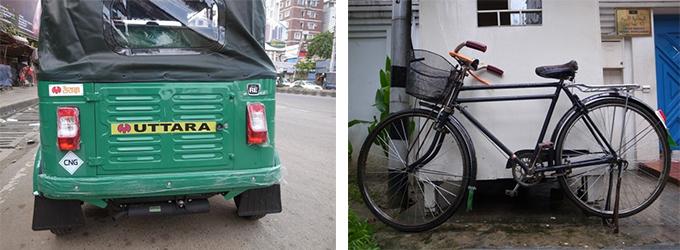 左写真:走行中のCNGを後ろから撮影、 右写真:レトロな自転車