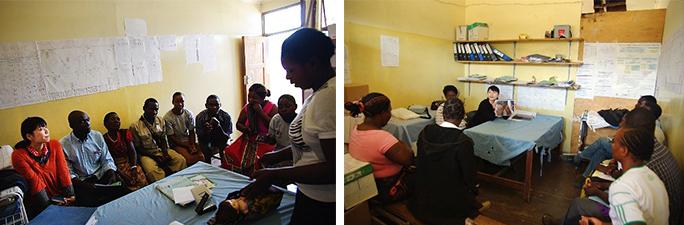 左写真:授乳法デモンストレーション練習の様子、 右写真:授乳法の間違い探しゲーム中の様子