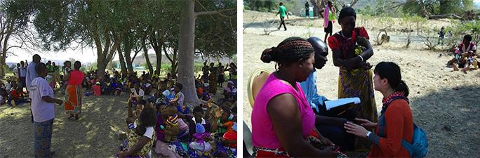 左写真:総勢75名の母親達に劇を披露中の様子  右写真:劇実施直前の最終打合せの様子