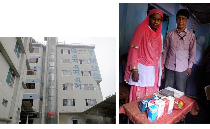現地NGO・TMSSの本部ビルの写真と医療アシスタントとTMSSスタッフの写真