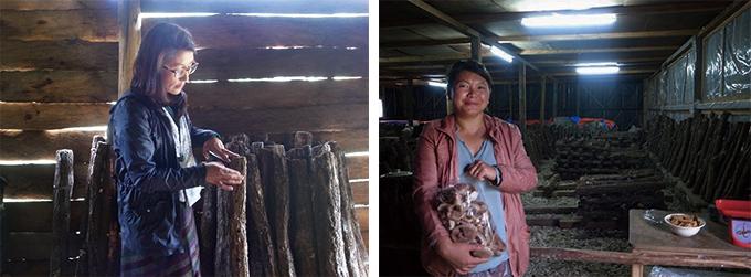 左:通訳の女性、右:きのこ農家の女性