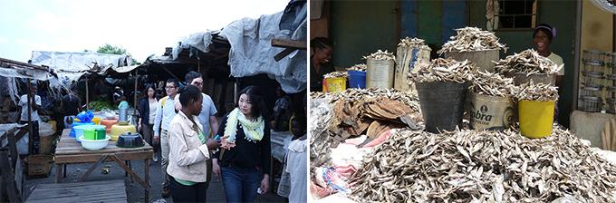 左:下町の市場を視察する日本人参加者、右:乾燥小魚を売る市場の零細企業家。