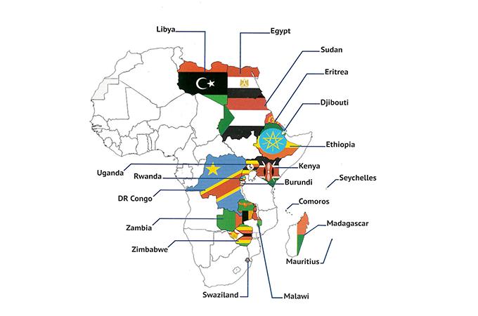 COMESA各国の地図