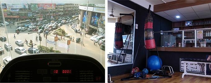 ランニングマシーンから見える渋滞風景の写真とサンドバックとフルーツジュースもある売店の写真