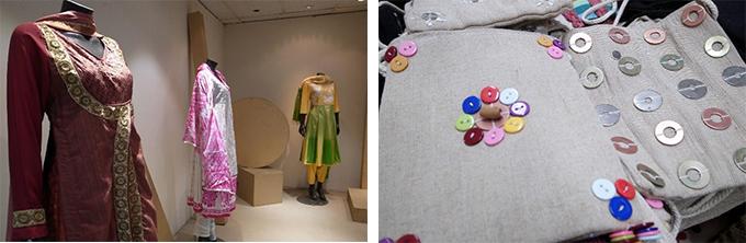女性の民族衣装の写真と飾りボタンのついたバック