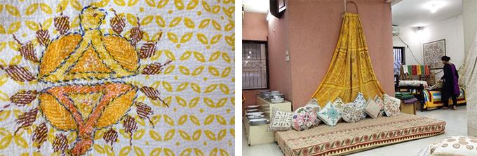 模様の入ったノクシ・カンタと呼ばれる布とそれがつるされている写真